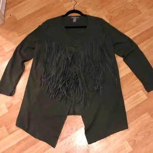 Emerald Green Fringe Front Sweater L Rayon Blend